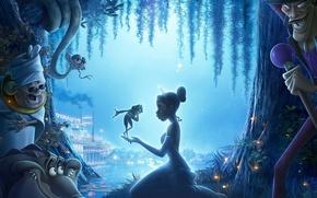Обои лягушка, сказка, ночь, принцесса, чудо, река, мультфильм