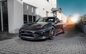 Картинка порше, черный, кайман, Porsche, Cayman, TechArt