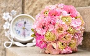 Картинка часы, букет, пионы, гортензия, bouquet, clock