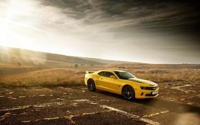 Обои chevrolet, camaro, ss, bumblebee, edition, yellow, muscle, car, sun
