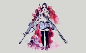 Картинка девушка, оружие, фон, кровь