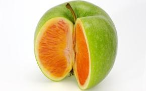 Картинка рендеринг, apple, яблоко, апельсин, orange, mixed fruit