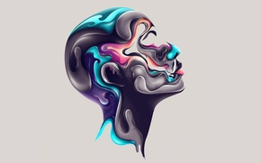 Картинка лицо, краски, цвет, профиль