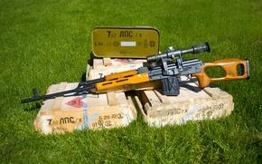 Картинка трава, ящики, снайперская винтовка, Драгунова
