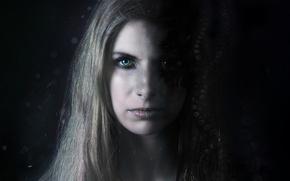 Картинка dark, horror, long hair, octopus, woman, eyes, lips, face, fear, blond, evil, mouth, kraken, tentacles, ...
