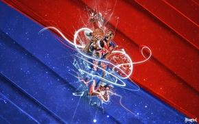 Обои Красный, Синий, Мяч, Спорт, Баскетбол, NBA, LeBron James, Kobe Bryant, Блок, Игроки