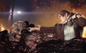 Картинка девушка, пистолет, огонь, монстр, бой, захват, схватка, мутант, Capcom, Claire Redfield, Клэр Редфилд, Resident Evil: …