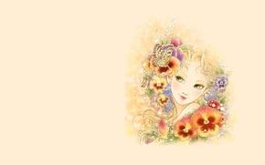 Картинка бабочка, арт, девушка, настроение, цветы, минимализм