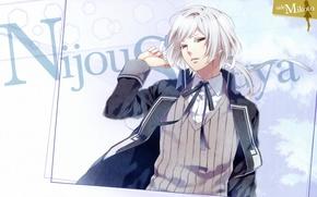 Картинка рука, парень, школьная форма, art, жилет, блондин, teita, nijou sakuya, NORN9