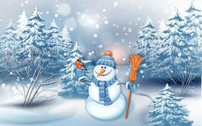 Обои зима, лес, снег, праздник, шапка, рисунок, графика, новый год, морковка, ели, шарф, снеговик, птичка, метла, ...