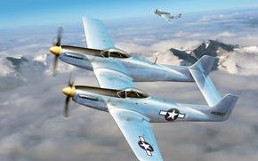 "Картинка многоцелевые, арт, WW2, F-82, ""Мустанги"", американские, рисунок, облака, P-51, истребители, небо, самолёты"