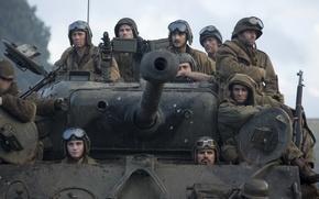Картинка солдаты, танк, Брэд Питт, Brad Pitt, M4 Sherman, Fury, «Ярость»