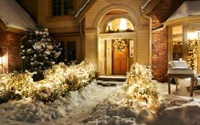 Картинка зима, снег, ночь, природа, lights, огни, дом, праздник, окна, windows, украшение, house, архитектура, Happy New …