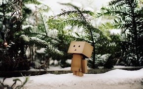 Обои danbo, зима, снег, данбо, елки, ветви