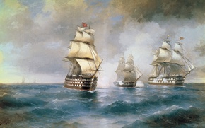 Обои Айвазовский, Картина, Море, Живопись, Корабли
