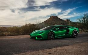 Картинка green, supercar, Lamborghini Aventador