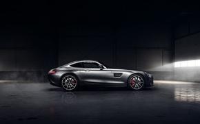 Картинка Mercedes-Benz, Dark, AMG, Sun, Color, Side, Silver, Ligth, 2016, GT S