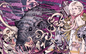 Картинка Abstract, animals, skulls, tigers, Psychedelic, girl with gun, boars, 3600x1802