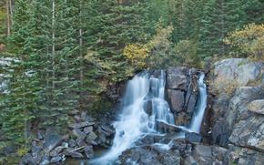 Картинка лес, деревья, скалы, водопад, Boulder Falls