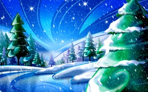 Картинка небо, звезды, снег, деревья, Зима