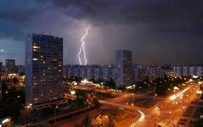 Картинка дорога, огни, молния, дома, вечер, Москва