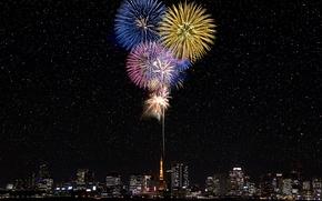 Картинка звезды, салют, Япония, Токио, Tokyo, Japan, фейерверк