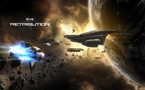 Картинка космос, астероиды, space, флот, космический корабль, Retribution, EVE online, CCP Games, New Eden, Amarr