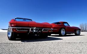 Картинка небо, Corvette, Chevrolet, Шевроле, Sting Ray, Корвет, Стинг Рэй