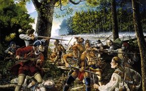 Картинка масло, картина, столкновение, Америка, ножи, ружья, раскраска, индейцы, охотники, вооруженное, (краснокожие), хост, Дикий запад, (бледнолицые), …