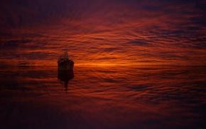 Картинка море, облака, отражение, корабль