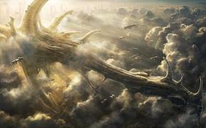 Картинка облака, город, огни, транспорт, корабль, арт, в небе, гигантский, radojavor