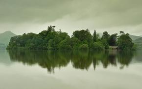 Картинка горы, озеро, дом, остров, в воде