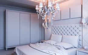 Картинка дизайн, вилла, кровать, интерьер, люстра, Design, спальня, Interior, Bedroom