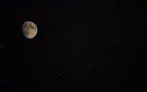 Картинка космос, звезды, ночь, луна, спутник