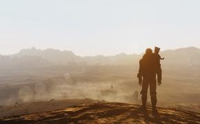 Картинка горы, оружие, пустыня, человек, костюм, fallout, пустошь, new vegas, Bethesda Softworks, Bethesda, fallout: new vegas