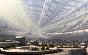 Обои будущее, станция, Город, 151