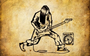 Обои metal, рок, старая бумага, динамик, rock, музыка, гитара, метал, рисунки