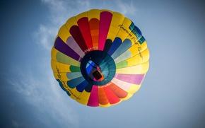 Картинка небо, воздушный шар, sky, balloon, multicolor, экстремальный спорт, многоцветная, basket balloon, корзина воздушного шара