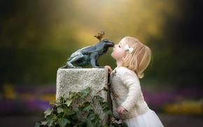 Картинка фон, лягушка, девочка