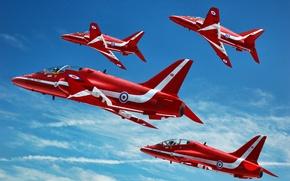 Обои облака, полет, полосы, самолеты, красные, в небе, Bjorn Vanneste, Hawk T1A, GrahamTG