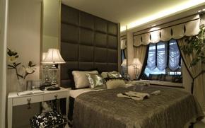 Обои комната, стиль, цветы, спальня, лампы, столик, кровать