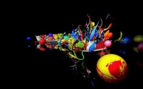 Обои стекло, лодка, река, цвет, объем, арт