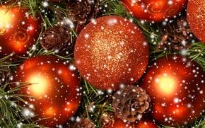 Картинка снег, иголки, шары, шишки, ёлочные игрушки