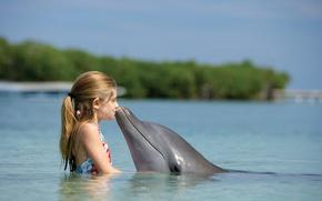 Картинка дельфин, океан, дружба, child, девчонка, Bahamas, Paradise Island