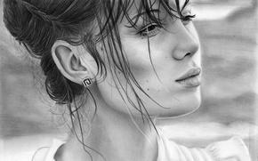 Картинка взгляд, девушка, лицо, волосы, портрет, серьги, прическа, губы, живопись
