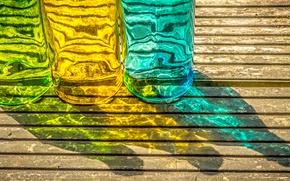 Картинка стекло, макро, цвет, бутылка, тень