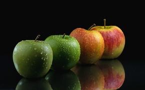 Обои плоды, яблоки, фрукты, капли