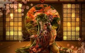 Картинка цветок, девушка, дым, трубка, маска, сидит, длинные волосы, японская одежда, зелёные глаза, зелёные волосы, цветущая …