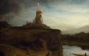 Обои пейзаж, картина, Мельница, Рембрандт ван Рейн