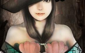 Картинка девушка, шляпа, аниме, арт, ракушки, magi the labyrinth of magic, ares6792, yamuraiha